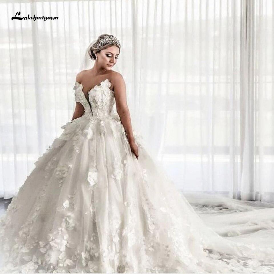 Floral African Ball Gown Wedding Dress Vestido Dubai 2020 Turkey Women Wedding Gowns Off Shoulder Bridal Dresses Long Train