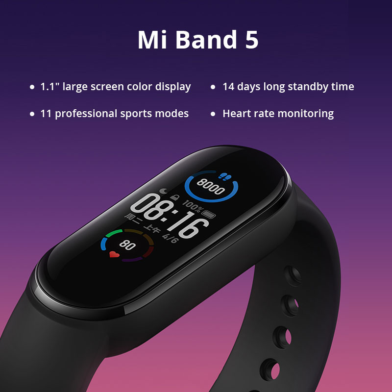 Смарт-браслет Xiaomi Mi Band 5 с большим AMOLED экраном 1:1, пульсометром, фитнес-трекером, Bluetooth 5,0, спортивный водонепроницаемый браслет 5 5