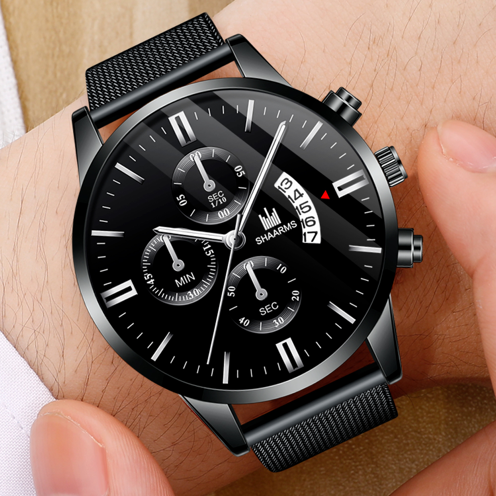 2020 Fashion Men Black Watch Luxury Mesh Band Stainless Steel Quartz Sports Watches Man Wristwatch Relogio Masculino