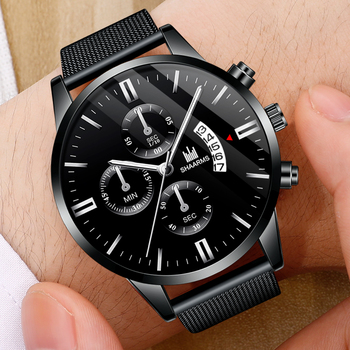2020 Fashion Men Black Watch Luxury Mesh Band Stainless Steel Quartz sports Watches Man Wristwatch relogio masculino
