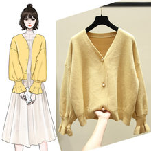 Lazy autumn Korean version of retro temperament V loose Long Sleeve Sweater Jacket pure color knitted cardigan students(China)