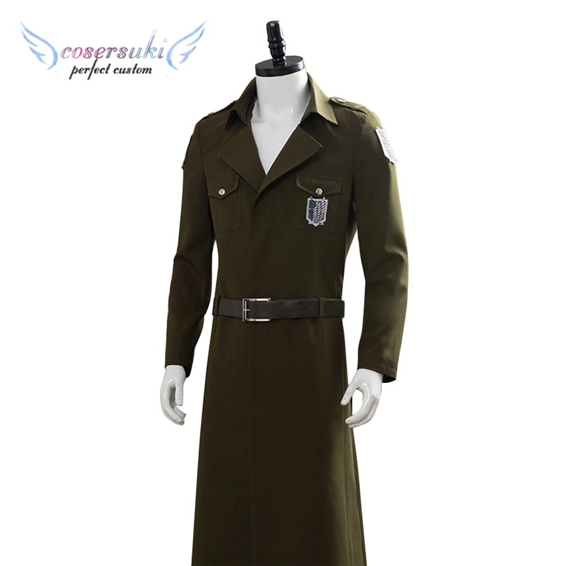 Attack On Titan third episode Eren Scouting Legion Soldier Officer Trench Coat Uniform Halloween Carnival Costumes image