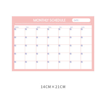 30 Sheets Pink Blue Monthly Plan Paper Pad 14*21cm DIY Undated School Office Planner Supplies 2021 New image