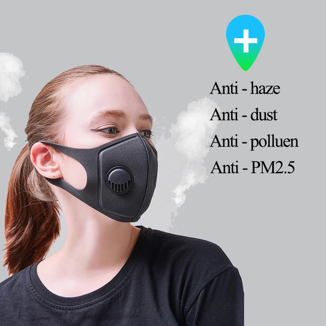 Coslony 1Pcs Anti Pollution Mask Face Mask Dust Mask PM2.5 Activated Carbon Filter Insert Can Be Washed Reusable Mouth Masks