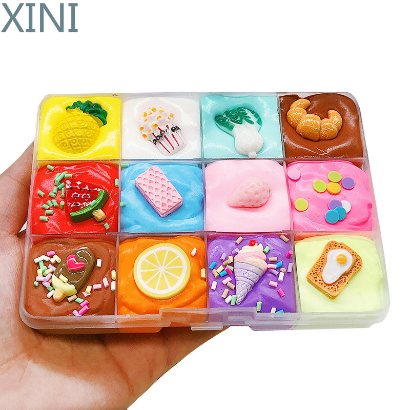 XINI New Fruit Plate Fluffy Slime Supplies DIY Clay Toy Puff Glue Charm for Colored Clay Playdough Child Hand Putty  Kids Gift
