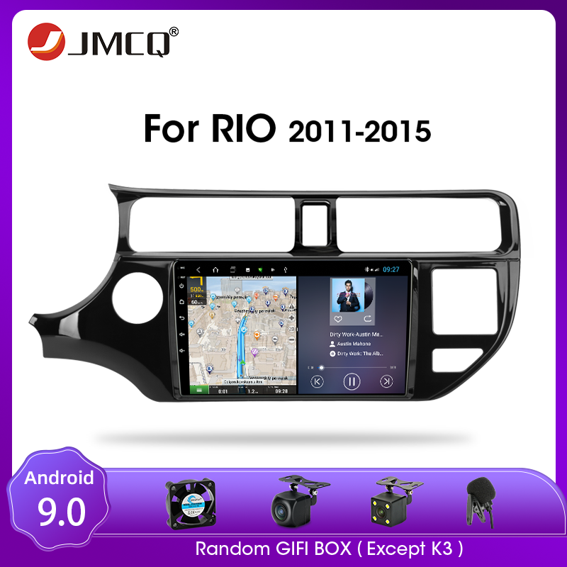JMCQ Android 9.0 Mobil Radio untuk KIA K3 RIO 2011-2015 Multimedia Video Player GPS 2din 2 + 32G Navigasi GPS Split Screen dengan Bingkai