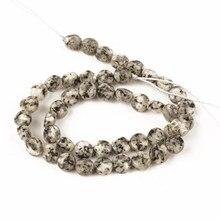 Grânulos naturais por atacado pedra facetada plana redonda preto branco pedra granito grânulos para fazer jóias 8mm diy pulseira colar