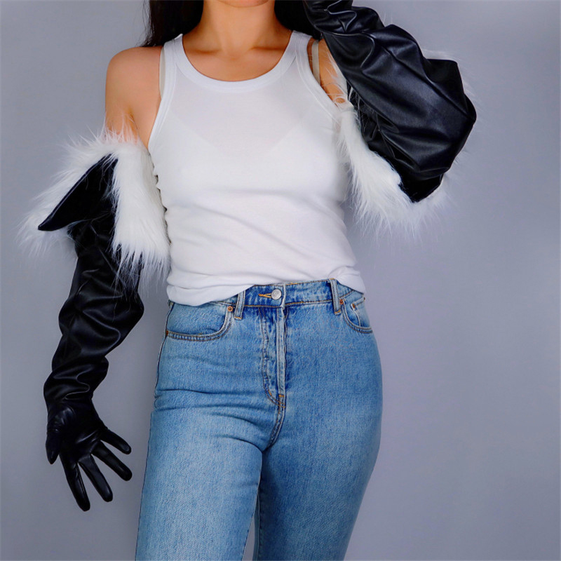2020 New TECH LONG GLOVES Unisex Black Faux Leather 85cm Fur Lining Extra Warm For Winter Women Long Leather Gloves WPU204