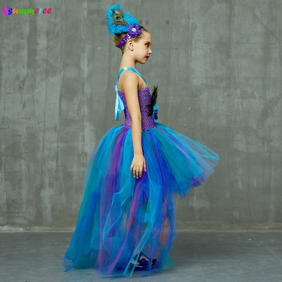 Peacock Tutu Costume Dress Child Girls Pageant Prom Ball Gown Princess Peacock Feather Halloween Birthday Party Train Dress 4