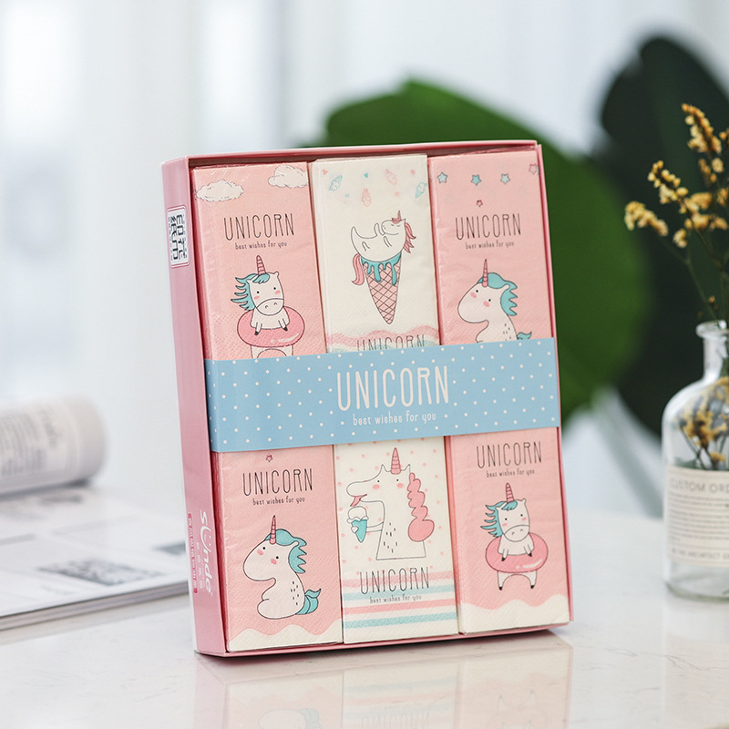New Style Creative Printed Paper Towel Handkerchief Paper Unicorn 12 Bag Gift Box Raw Wood Pulp Daily Use Paper Towel Manufactur