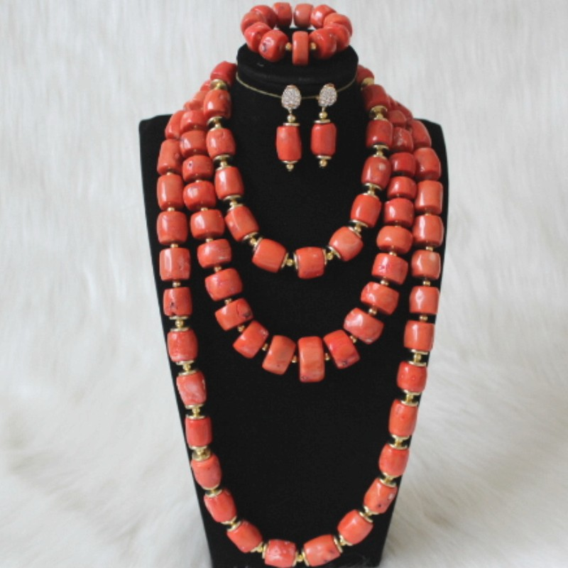 Dudo 15mm-22mm Nigerian Big <font><b>Jewelry</b></font> <font><b>Set</b></font> Nature Coral African Beads <font><b>Jewelry</b></font> Nigerian Wedding Bridal <font><b>Set</b></font> 3 Layers Earring Bracelet Necklace <font><b>Set</b></font> <font><b>2019</b></font> image