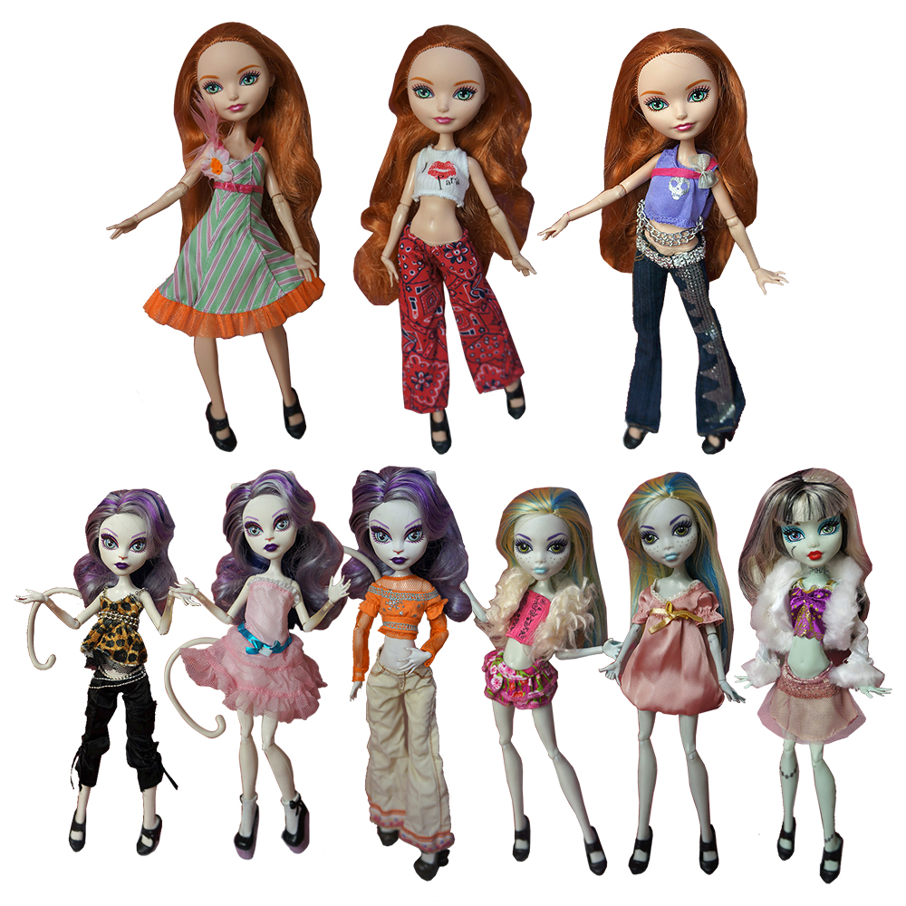 Fashion handmade 10 Items/set Doll Accessories Kids Toys Clothes Dress Pant Coat for Monster High Dolls Best Birthday Gift 1/6