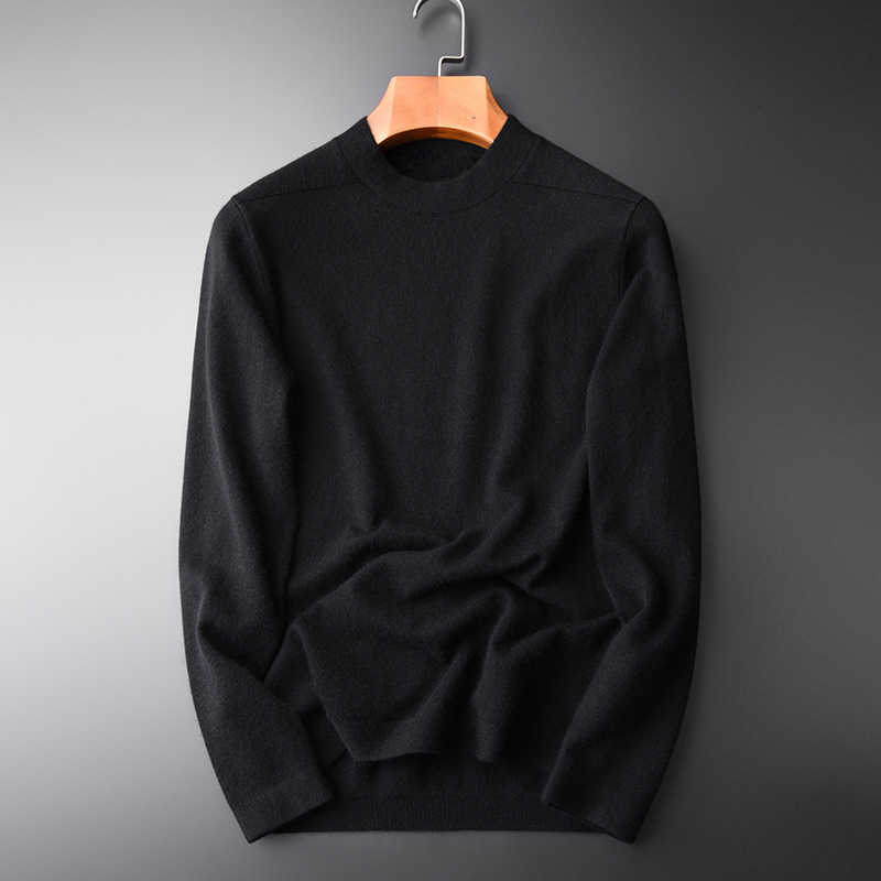 Wool And Rabbit Hair Sweater Male Luxury Mink Cashmere Half Turtleneck Man Fashion Slim Fit Mens Sweaters M-4XL
