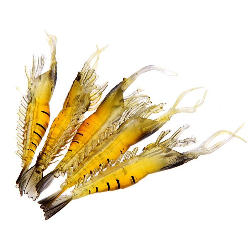 ABGZ-5Pcs 9cm 4g Outdoor Fishing Lure Soft Simulation Lightweight Shrimp Prawn Bait Fishy Smell Yellow