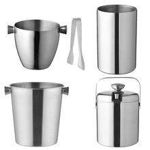 Ice Buckets 1.3/1.5/1.6/3.8L Stainless Steel Thicken Wine Ice-pail Cooler Box Ice Barrel Champagne Beer Whillers Whisky Cooler free shipping plastic led ice bucket color changing plastic ice bucket luminous ice pail ice cooler glow beer cask wine barrel