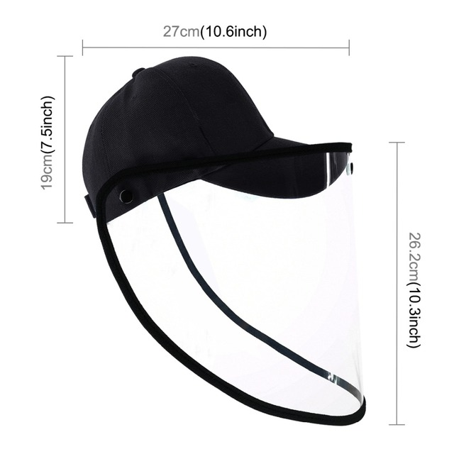 Outdoor protective Baseball cap Anti-saliva Full Face Cover Hat Safety Face Shield Removable Transparent Face Cover 1