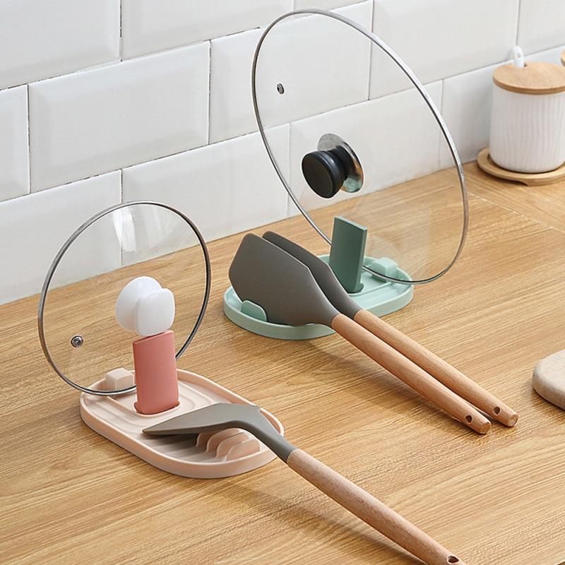 Multifunction Foldable Spoon Rest Holder Utensil Organizer Spatula Holder Racks Pot Lid storage pad Kitchen Storage Shelf