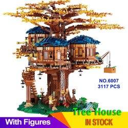 Идеи, модель домика на дереве, 3117 шт., листья, два цвета, строительные блоки, набор кирпичей, рождественские подарки для детей, совместимые с ...