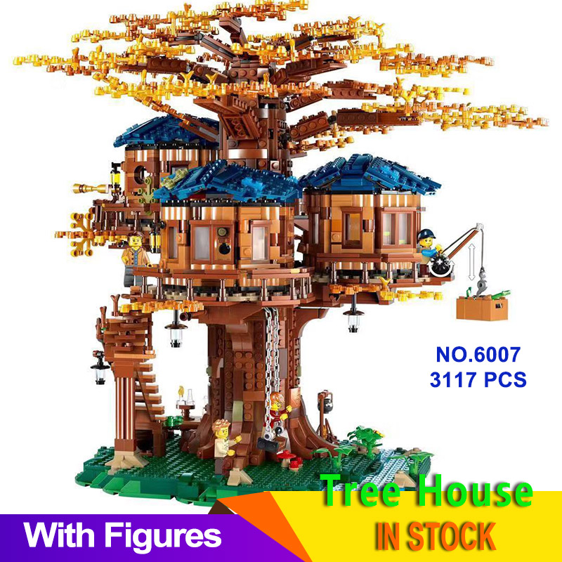 Ideas Tree House Model 3117Pcs Leaves Two Colours Building Blocks Bricks Set Birthday Gifts FOR Kid Compatible 21318