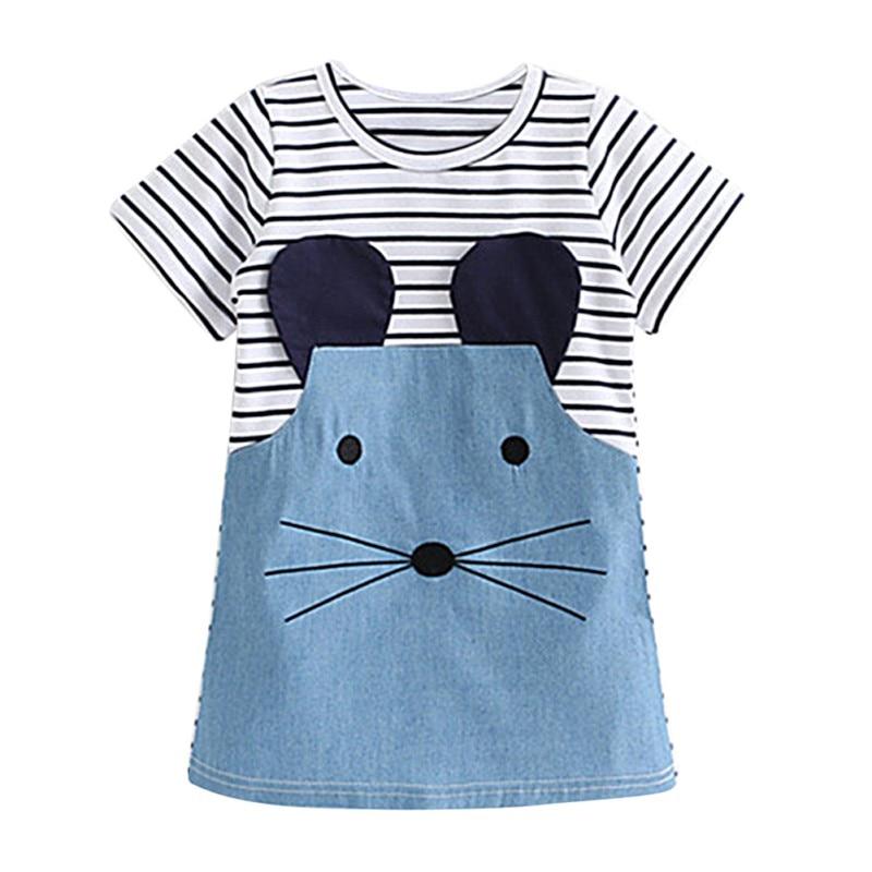 Summer Baby Girl Clothing Dresses Cute Mouse Girl Children Clothing Kids Girls Dress Denim Kids Clothes Princess Dress