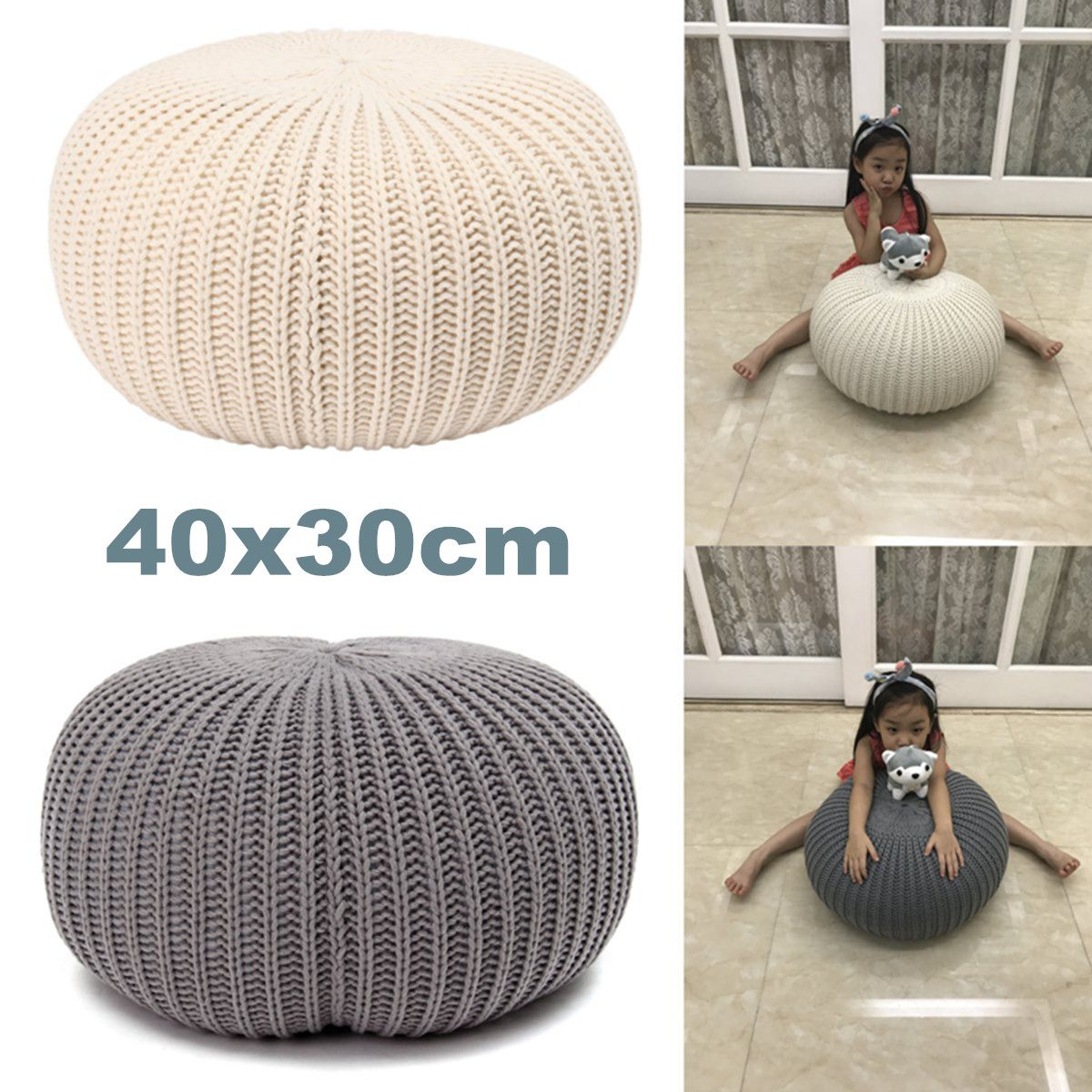 Modern Round Footstool Ottoman Pouffe Stool Fabric Foot Rest Kids Photo Props Nordic Sofa Cushion Stool Footrest Bedroom Decor