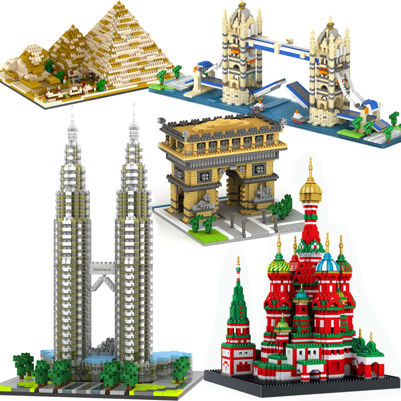 Compatible Lepining City Architecture Town Bridge London Big Ben Arc De Triomphe Paris Taj Mahal Building Blocks Kit DIY Gifts(China)