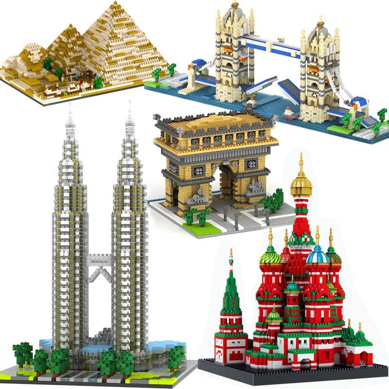 Compatible Lepining City Architecture Town Bridge London Big Ben Arc De Triomphe Paris Taj Mahal Building Blocks Kit DIY Gifts