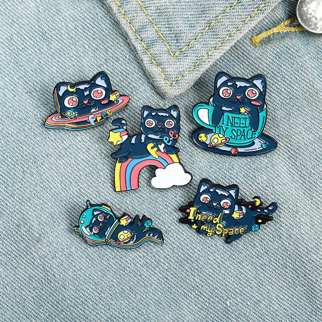 Cartoon Black Cats Enamel Lapel Pins Space Coffee Rainbow Brooches Badges Fashion cute Pins Gifts for Friends Wholesale Jewelry