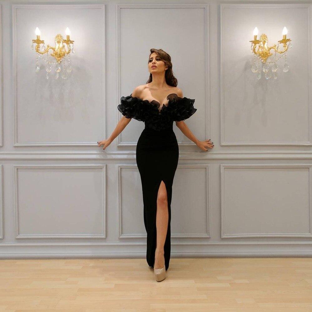 Black 2019 Muslim   Evening     Dresses   Sheath Off The Shoulder Organza Slit Dubai Saudi Arabic Long   Evening   Gown Prom