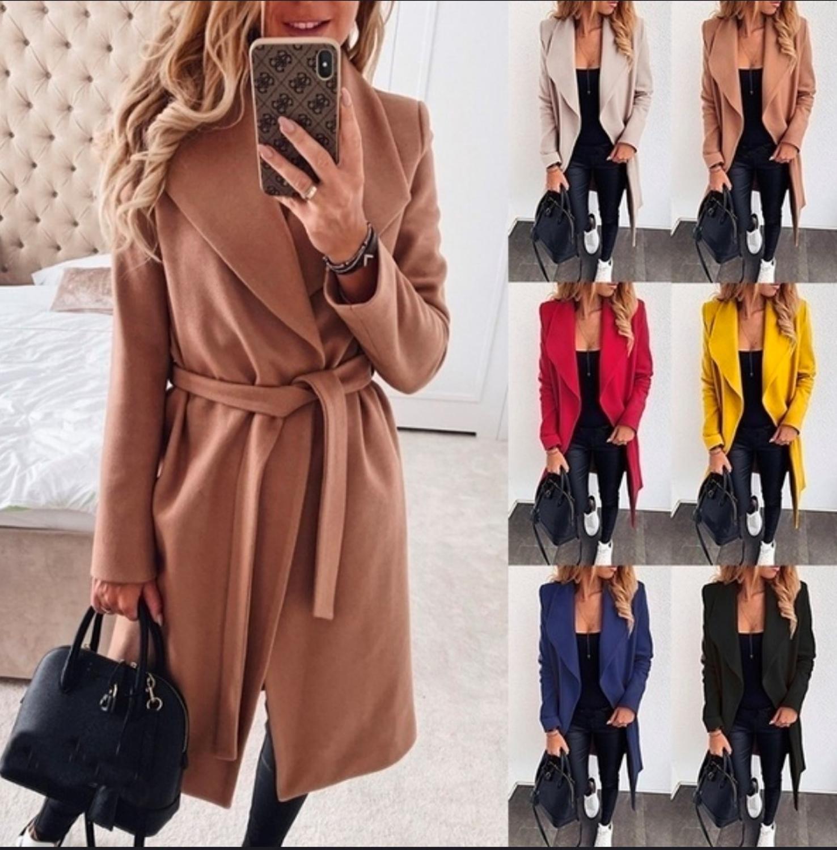 Women Autumn Winter Jackets Solid Plus Size S-3XL Bandage Long Sleeve Woolen Coat Ladies Casual Slim Thick Outwear Jackets