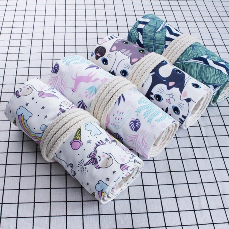 Cute Cat Kawaii Unicorn Penal For School Pencil Case Girls Boys Big 36/48/72 Holes Roll Pencilcase Canvas Pen Bag Stationery Kit