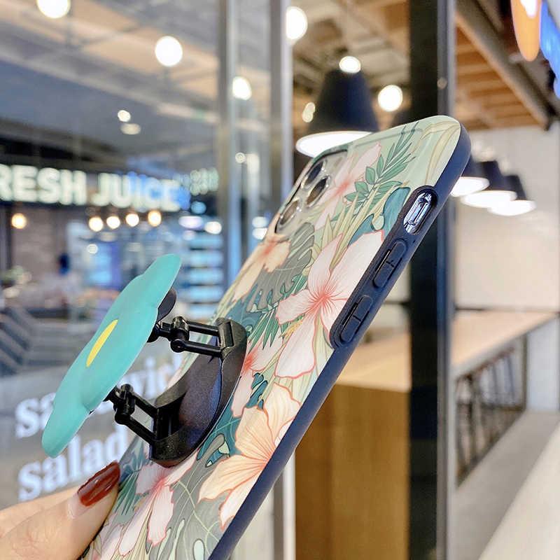 ヴィンテージかわいい花葉スタンドホルダーケース iphone 11 11Pro 最大 xr xs max x xs 7 8 プラス 11Pro se 2020 折りたたみブラケットカバー