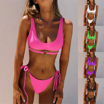 2020 Bikini Heart Thong Green Bathing Sexy Suit G String Bikini Swimwear Women Micro Underboob Swimsuit Cutout Halter Top