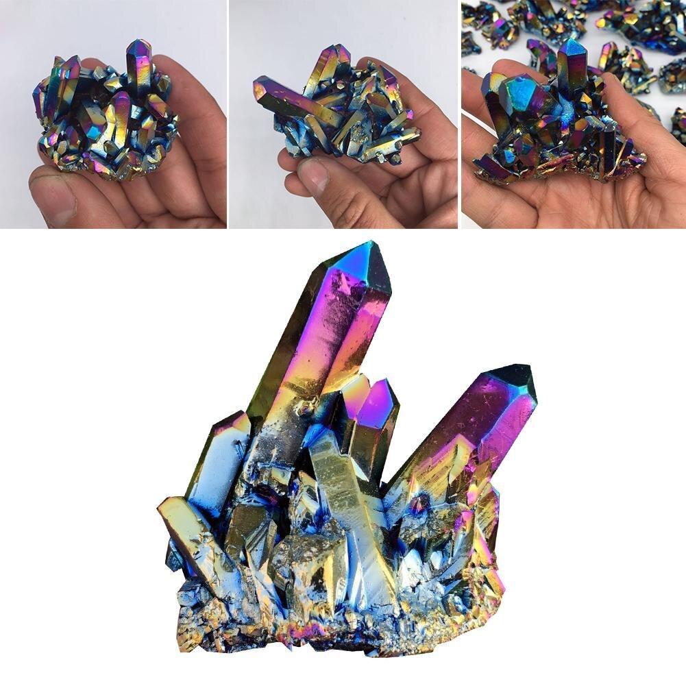 Натуральный кристалл кварца Радуга Титан кластера точка Редкие домашнее украшение ремесло камень «Reiki» может для исцеления образца Минера...