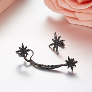 Image 2 - SLJELY 925 Sterling Silver 2 Colors Asymmetrical Star Fine Earrings Micro Cubic Zirconia Stones Women Luxury Brand Jewelry