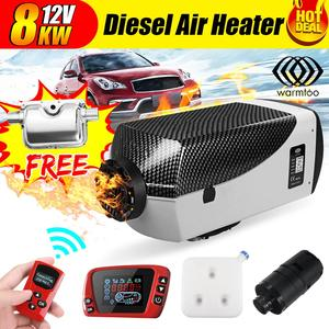8KW 12V Air Diesel Heater Car Heater Silencer Fuel Pump LCD Thermostat Switch 2 Air Outlet Warming Equipment For Trucks Boats RV(China)