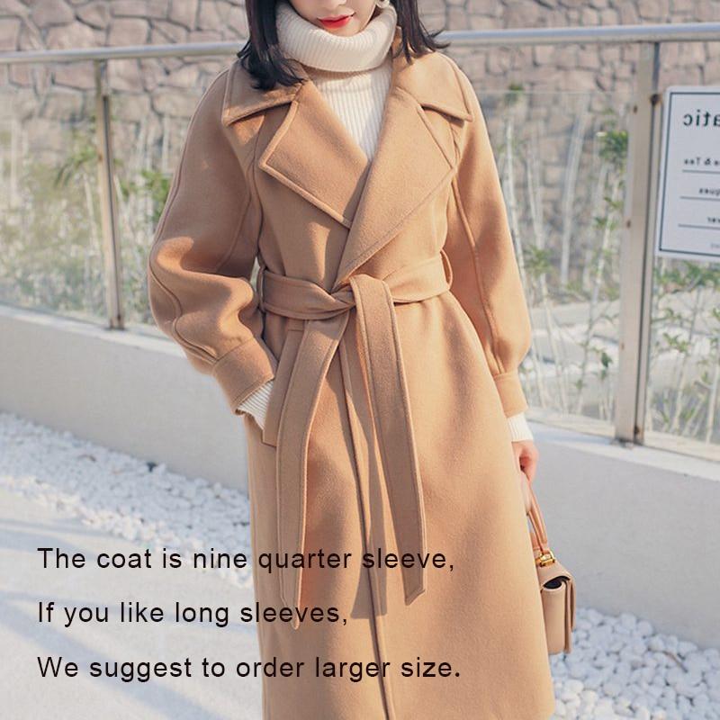 2019 Autumn Winter Woolen coats Women Lantern Sleeve Wool&blends Long Woolen Coat Casual Loose Wool Jacket Female Outwear 9