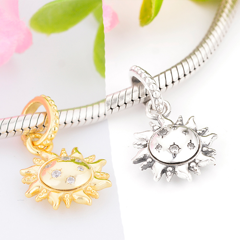 Fit Original Pandora Charm Bracelet 100% 925 Sterling Silver Beads Sparkling Sun Pendant Charm DIY Accessories Jewelry