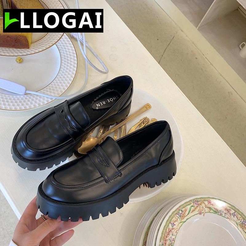 Boussac Black Punk Platform Women Loafers Round Toe Chunky Heel Vintage Shoes Women Slip on High Heel Women Pumps