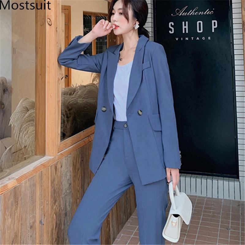 Vintage Autumn Winter Women Pant Suit Notched Blazer Jacket & Pant 2019 Office Wear Women Suits Fashion Korean Female Sets Femme