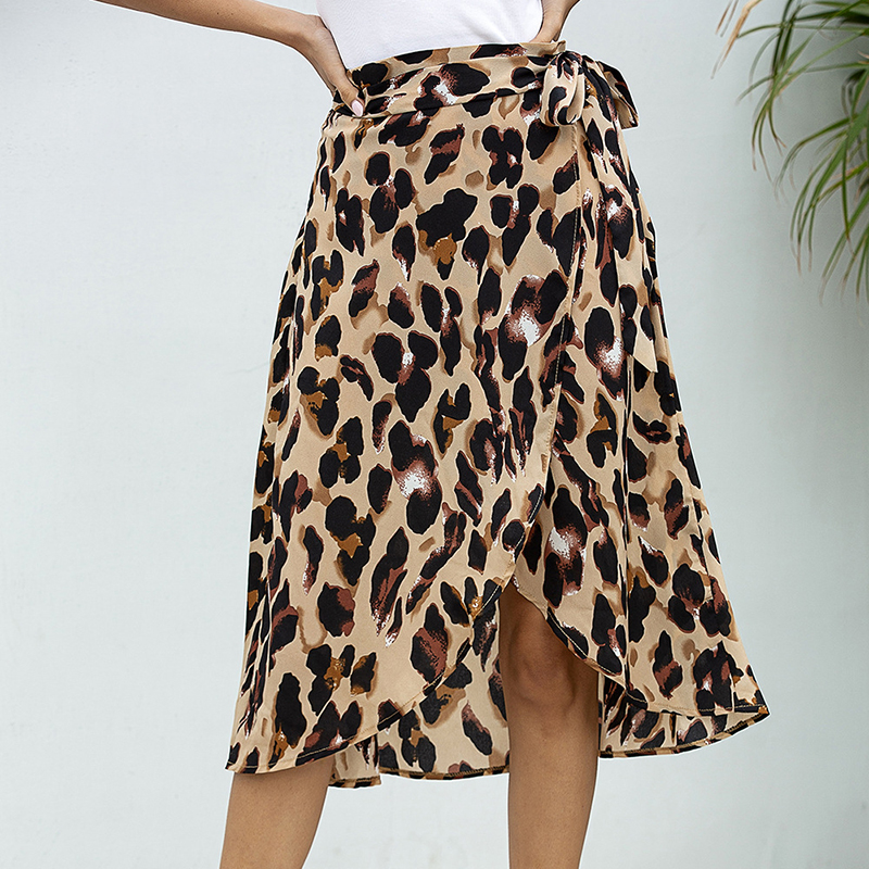 JULY'S SMTWB 2020 New Summer Women's Skirt Leopard Print One-piece Strappy Chiffon Knee Skirt