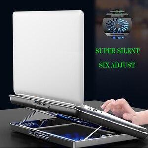 Тихий вентилятор охлаждающая подставка для ноутбука 6 скоростей Регулируемая подставка для ноутбука игровой кулер держатель с 2 usb-портами ...