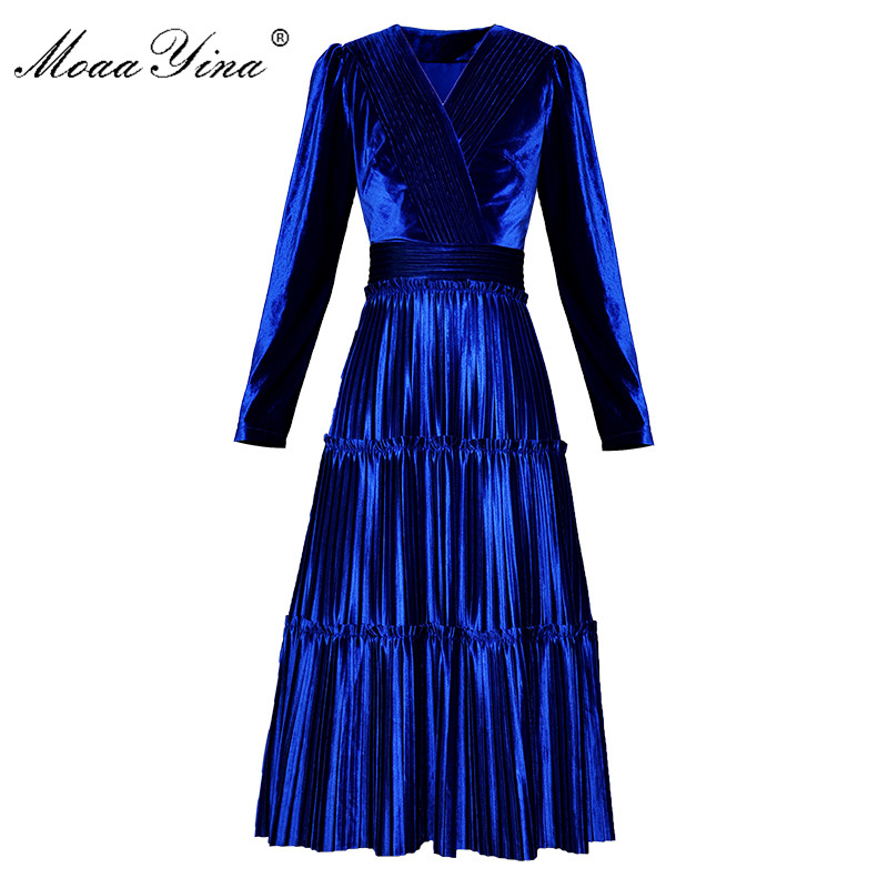MoaaYina Fashion Designer Runway Dress Spring Autumn Women Dress V-neck Long Sleeve Ruched Velvet Dresses