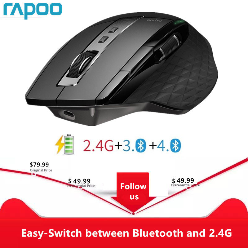 Rapoo MT750S Rechargeable Multi-mode Wireless Mouse Easy-Switch between Bluetooth and 2.4G up to 4 Devices for PC and Mac(China)