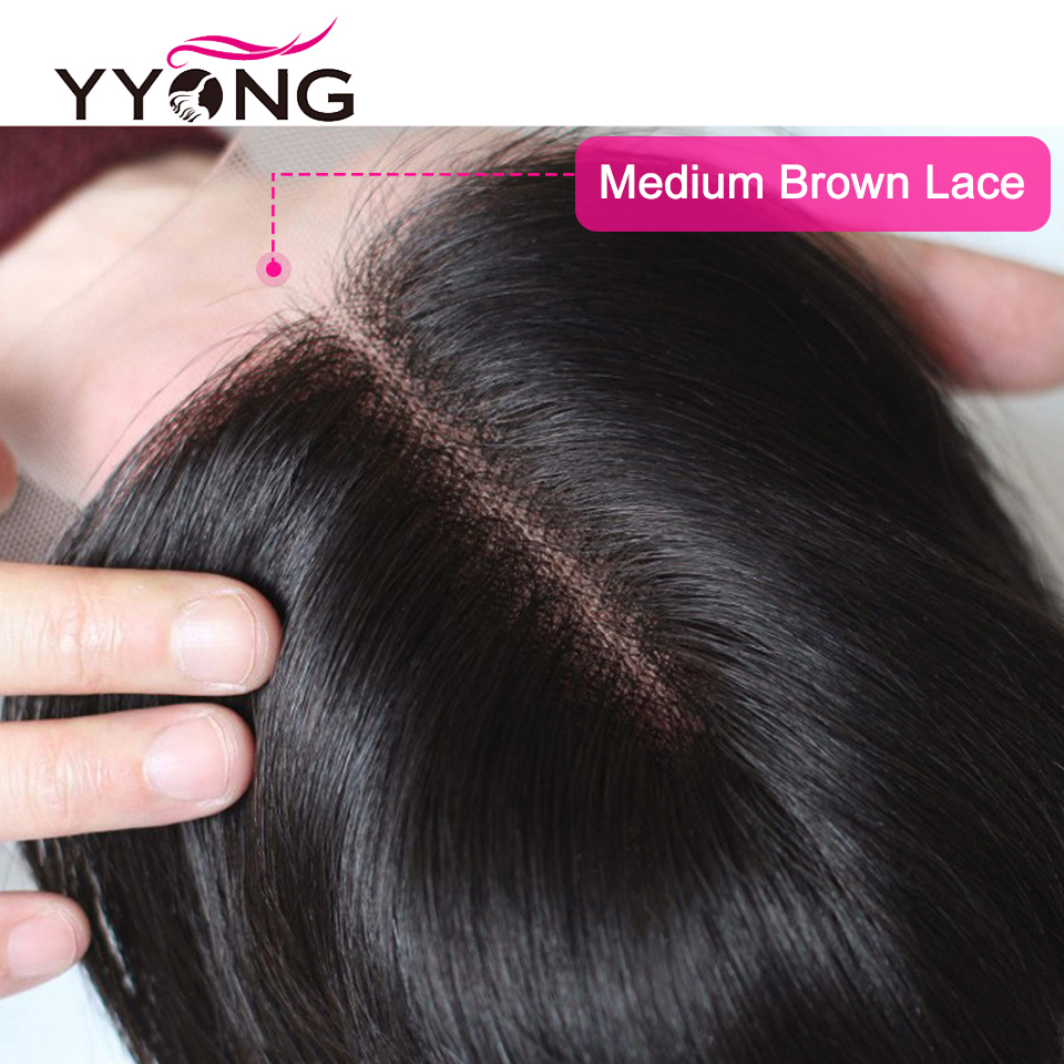 """Yyong  Body Wave Closure  4X4 Medium Brown Lace Closure Free/Middle/Three Part Swiss Lace With Baby Hair 8""""-22"""" 3"""