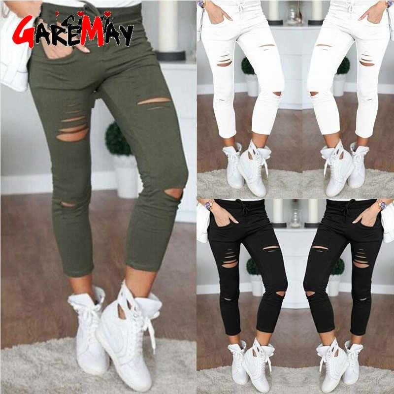 Vrouwen Leggings Gaten Potlood Stretch Casual Denim Skinny Ripped Broek Hoge Taille Jeans Broek Mode Broek