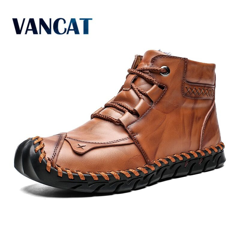 High Quality Leather Autumn Winter Men Boots Warm Plush Snow Boots Outdoor Fur Motorcycle Boots Ankle Boots Men's Shoes Size 48