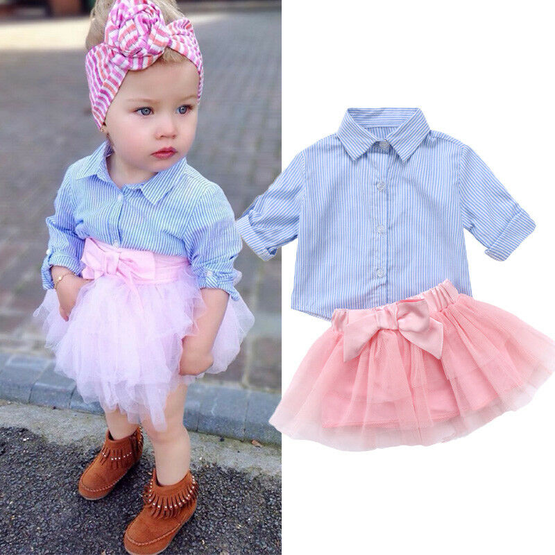 Emmababy Sweet Kids Baby Girl Stripe T-shirt Long Sleeve Top Tutu Skirt Outfits Set Clothes