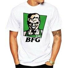 Bfg retro doomguy frango frito logotipo gravado preto 2021 camiseta s-6Xl