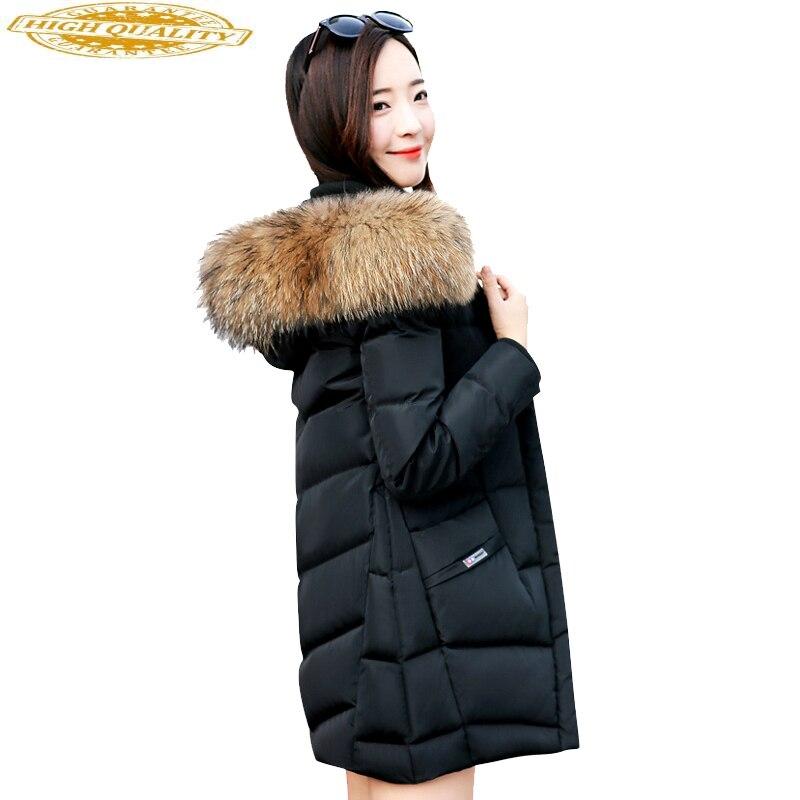 Duck Down Jackets Winter Coat Women Real Raccoon Fur Collar Long Coats Korean Parkas Mujer 2019 Chaqueta Mujer MY1487